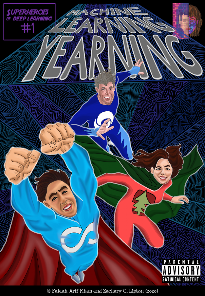 David silver, Andrew ng and Fei Fei li in their superhero form as Q-Silver, MOOC and Benchmark, respectively. Q-Silver is in the middle and is lunging towards the screen. MOOC is to the left and is jumping up into the screen with his arms outstretched and muscles in full display. Benchmark is lunging in cat-like positive to the right. Machine Learning Yearning is written above them.
