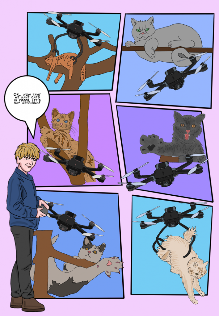 """Student looks at the audience with a slight smile, while holding a remote control and says, """"Ok… now that we have cats in trees, let's get rescuing!"""" [Montage of drones rescuing cats from trees]"""