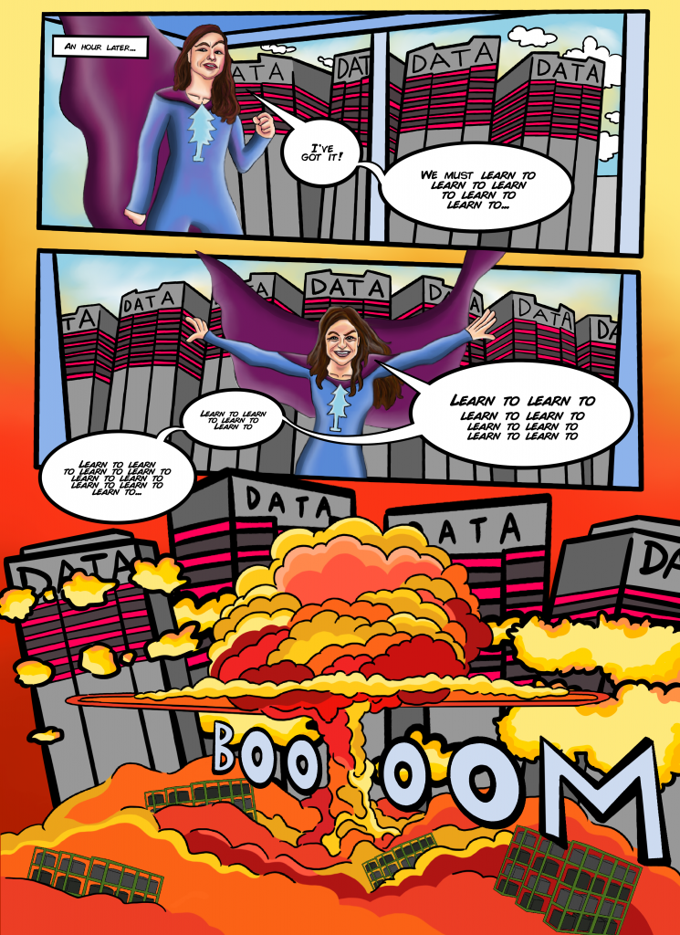 [Each layer of recursion deeper, a server farm in the background increases in size by an order of magnitude. Eventually, at the final panel, it goes mushroom cloud]